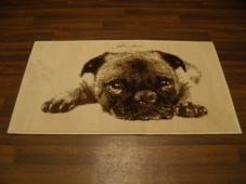 Modern Approx 4x2ft 60cm x 110cm Novelty Pug New Rugs Woven Backed Nice ,Cream